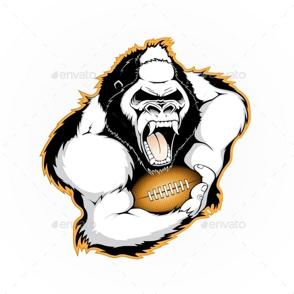 Gorilla with the Ball for American Football - Sports/Activity Conceptual