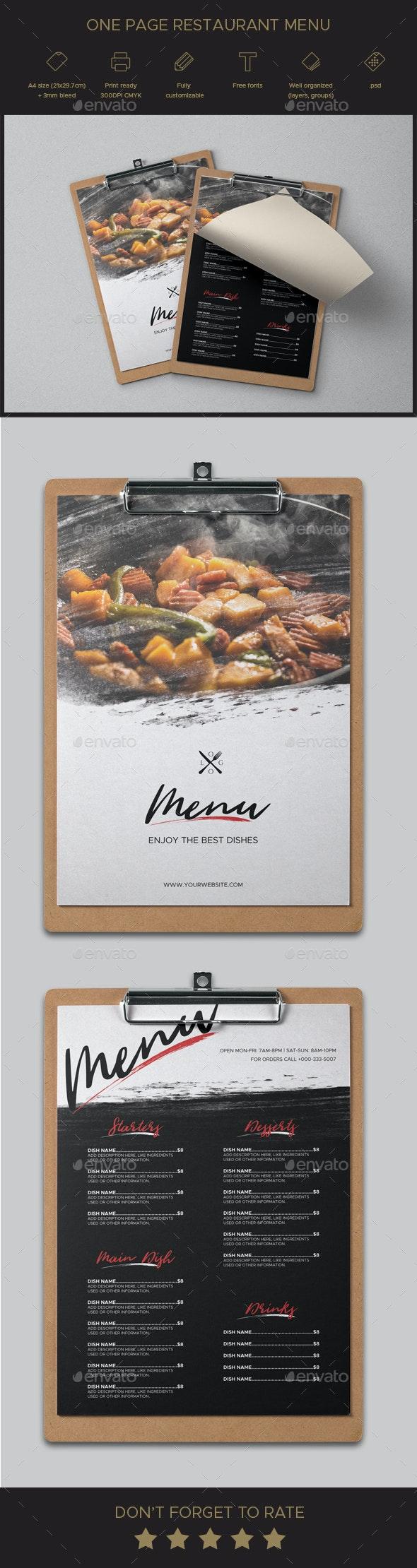 One Page Restaurant Menu - Food Menus Print Templates
