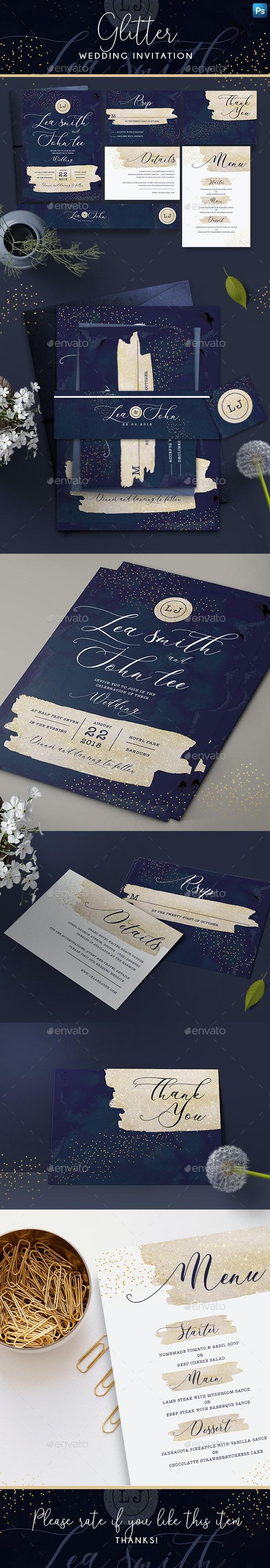 Glitter Wedding Invitation - Wedding Greeting Cards