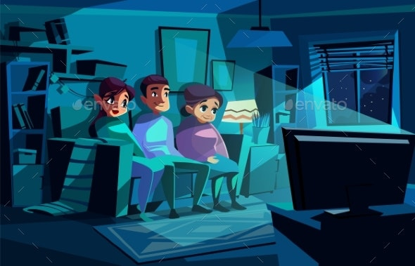 Family Watching Night TV Vector Illustration - People Characters
