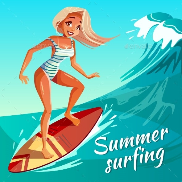 Summer Surfing Girl on Wave Vector Illustration - Sports/Activity Conceptual