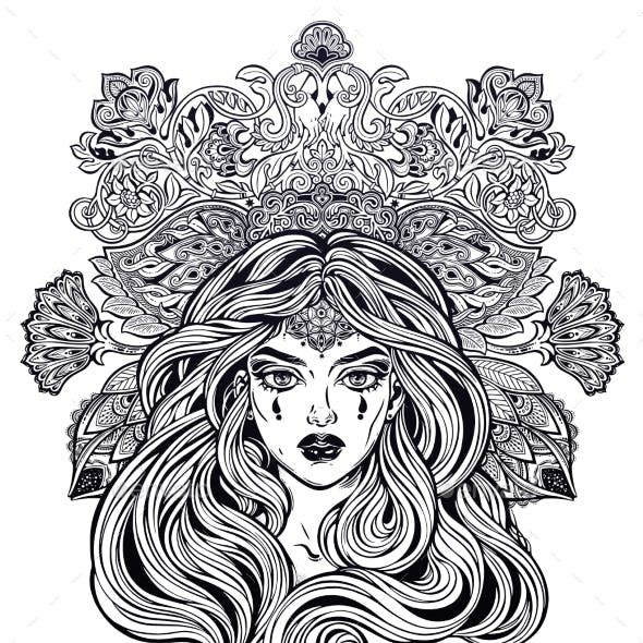 Girl with Long Hair in Art Nouveau Style