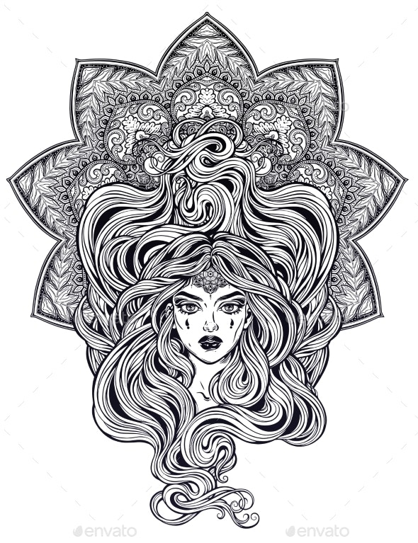 Girl with Long Hair in Art Nouveau Style - People Characters