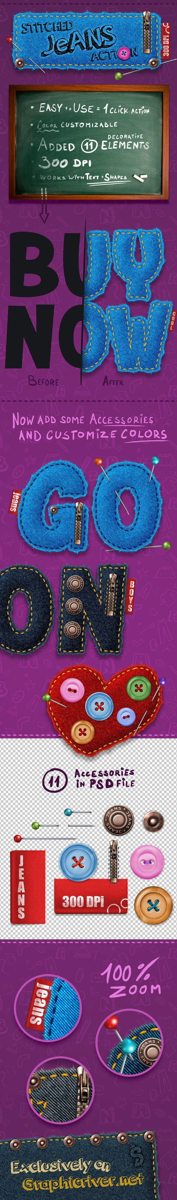 Stitched Jeans Action - 300 DPI - Text Effects Actions