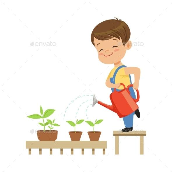 Little Boy Character Watering Plants - Flowers & Plants Nature