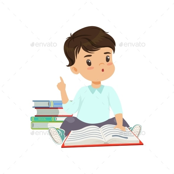 Little Boy Character Sitting and Reading - People Characters