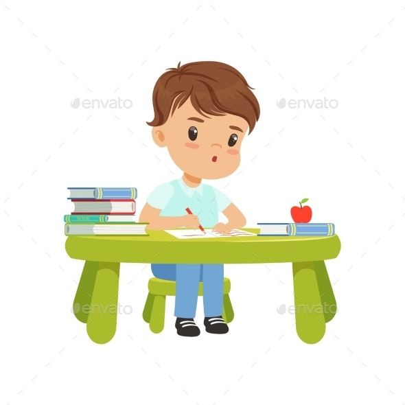 Little Boy Character Sitting at the Table - People Characters