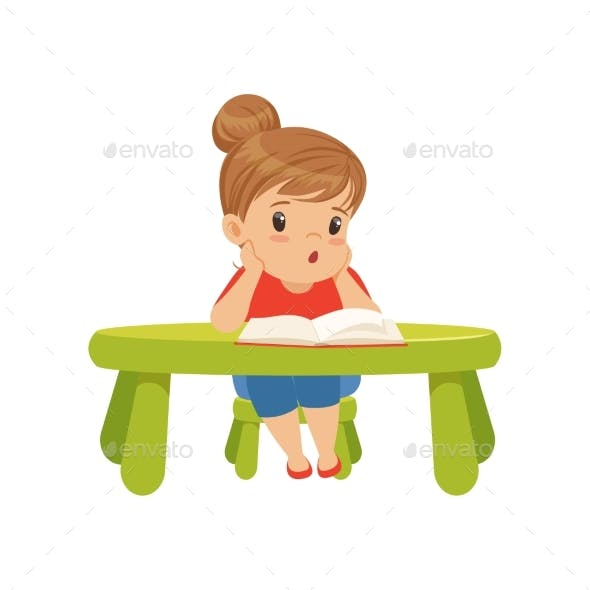 Little Girl Character Sitting at the Table