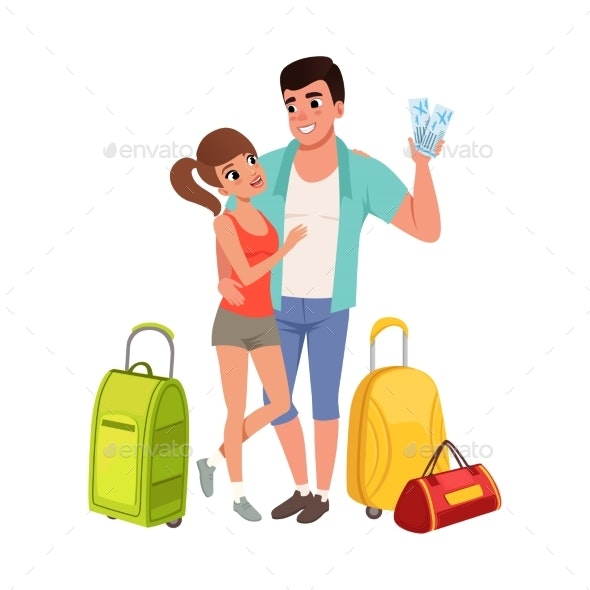Young Couple with Travel Bags and Tickets - People Characters