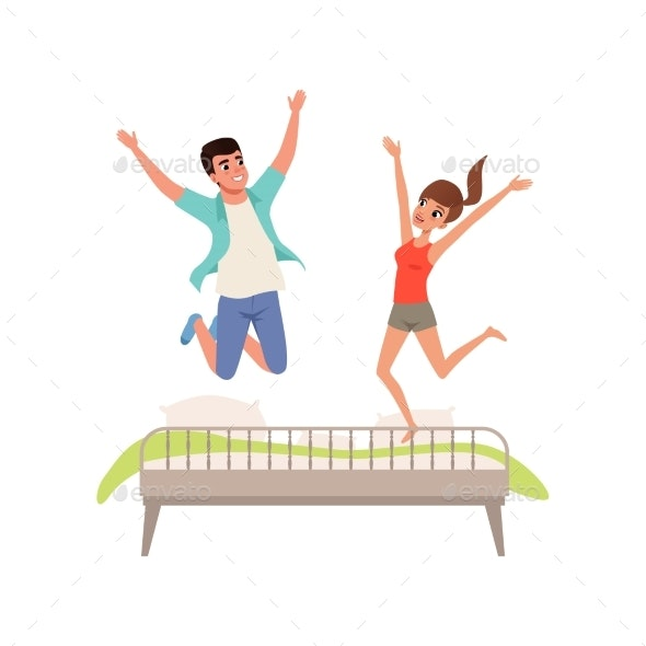 Couple Jumping on the Bed Vector - People Characters