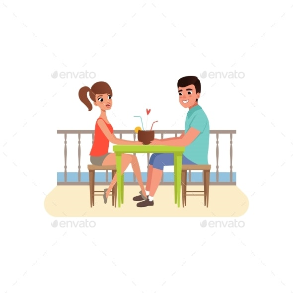 Family Couple Sitting at the Cafe Near the Beach - People Characters