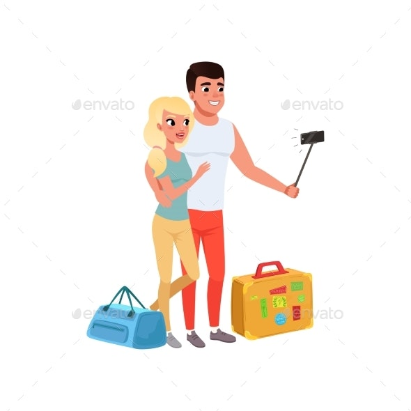 Tourist Couple with Bags Taking Selfie - People Characters