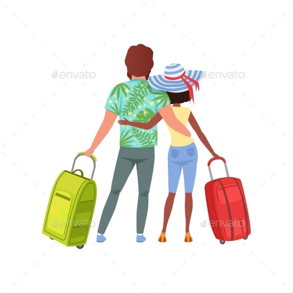 Young Couple with Travel Bags Back View - People Characters