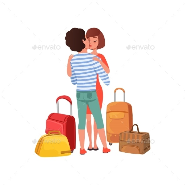 Happy Couple in Love with Travel Bags - People Characters