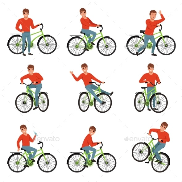 Male Bicyclist Riding on Bike Set - Sports/Activity Conceptual