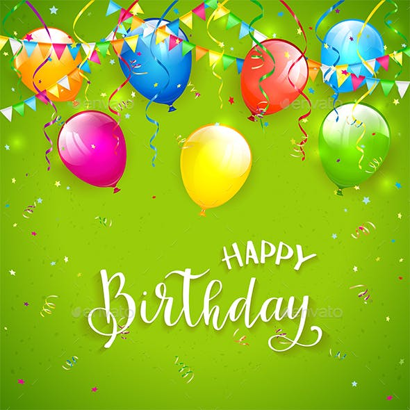 Green Birthday Background With Pennants And Balloons