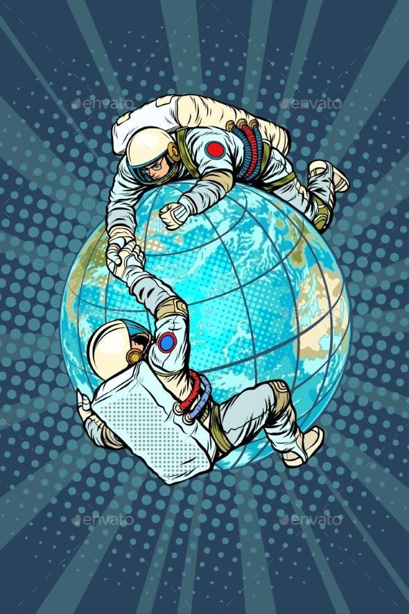International Space Cooperation Concept - Miscellaneous Vectors