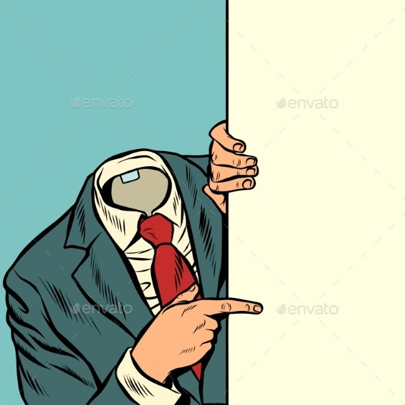 Businessman Pointing at Copy Space Background - People Characters