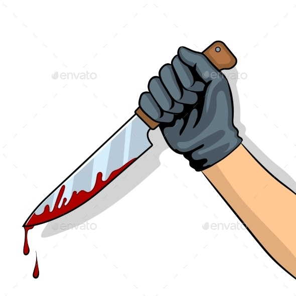 Bloody Knife in Hand Pop Art Vector Illustration - Miscellaneous Vectors