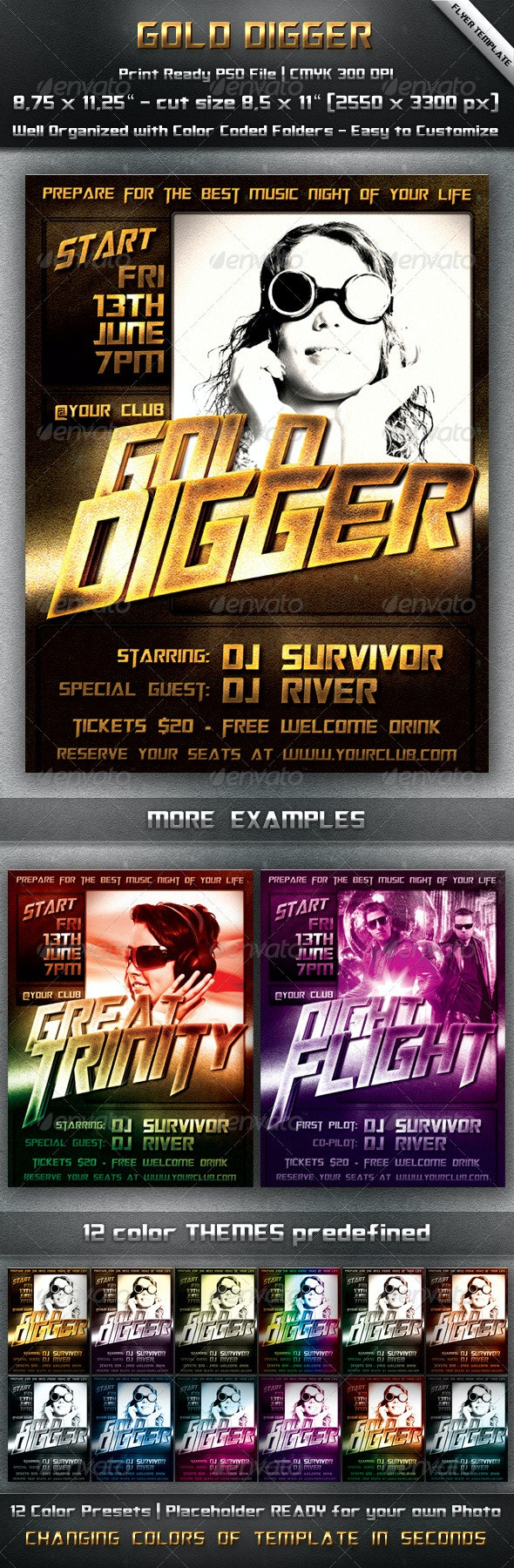 Gold Party Flyer Template - Clubs & Parties Events