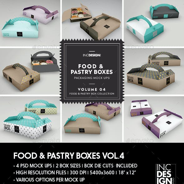 Food Pastry Boxes Vol.4: Donut   Pastry Carrier Take Out Packaging Mockups