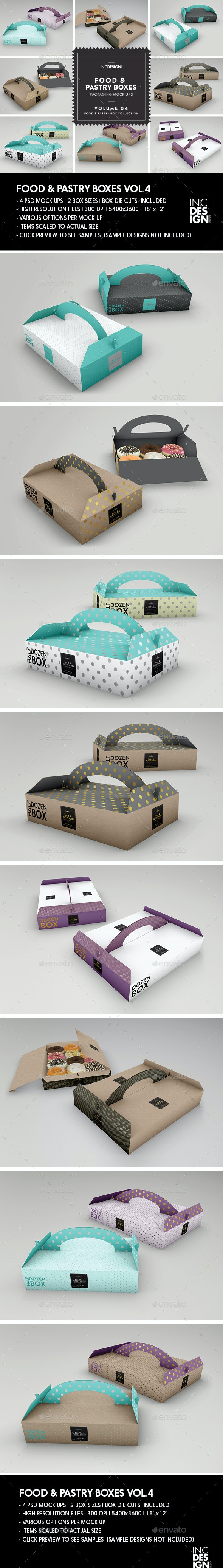 Food Pastry Boxes Vol.4: Donut | Pastry Carrier Take Out Packaging Mockups - Food and Drink Packaging