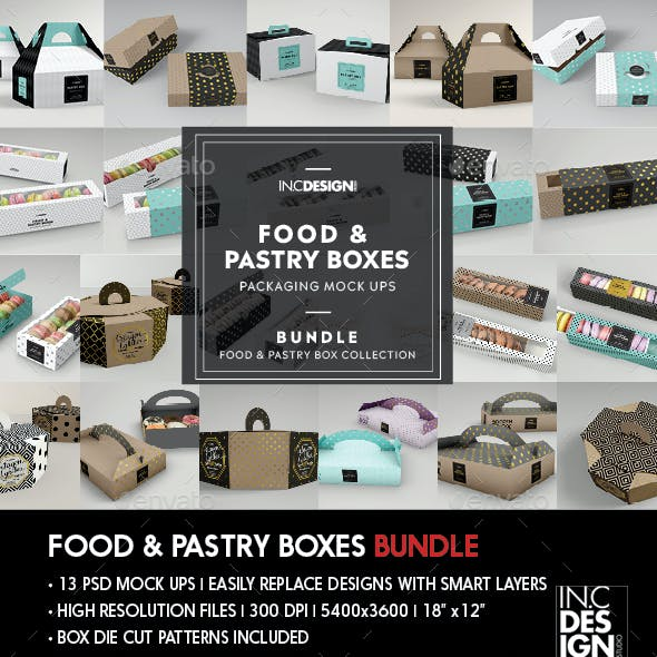 Food Pastry Boxes Mockup Bundle: Take out Packaging Mockups