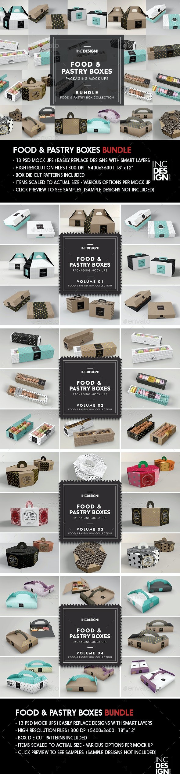 Food Pastry Boxes Mockup Bundle: Take out Packaging Mockups - Food and Drink Packaging