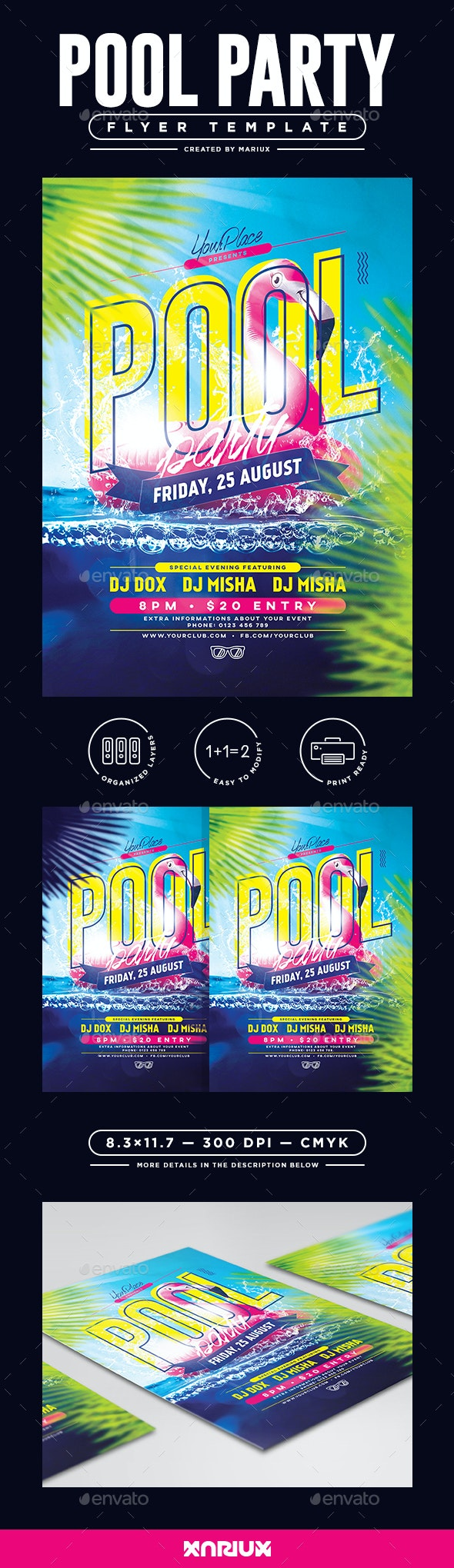 Pool Party Flyer/Poster - Clubs & Parties Events