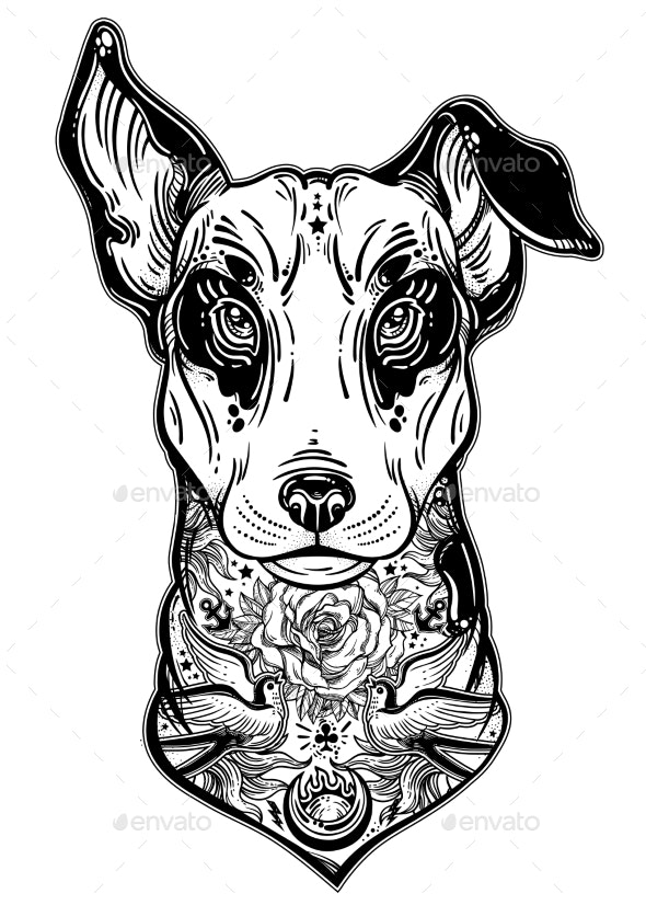 Vintage Style Bull Terrier in Flash Art Tattoos - Animals Characters