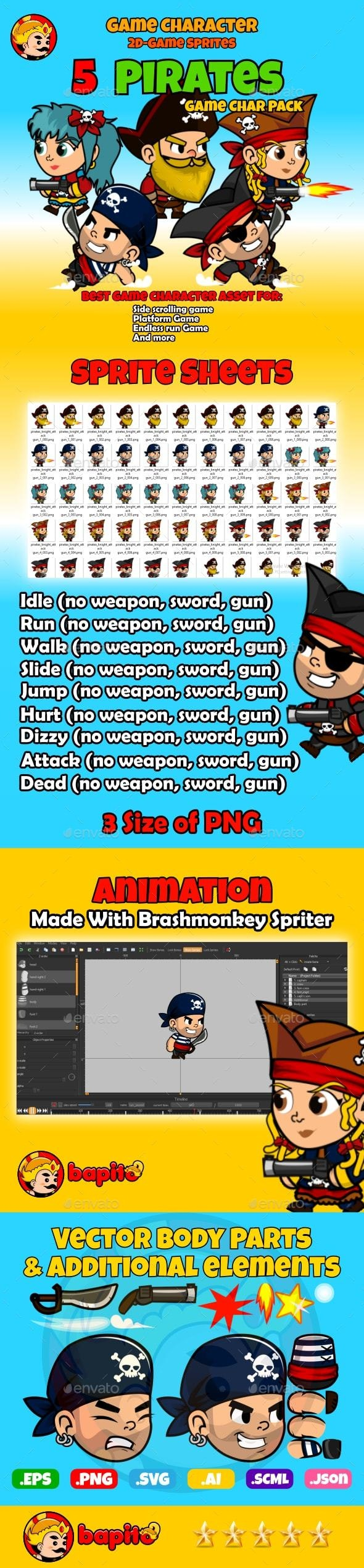 Pirate Adventure 2D Game Character Sprites - Sprites Game Assets
