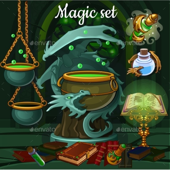 The Set of Objects for Witchcraft - Halloween Seasons/Holidays