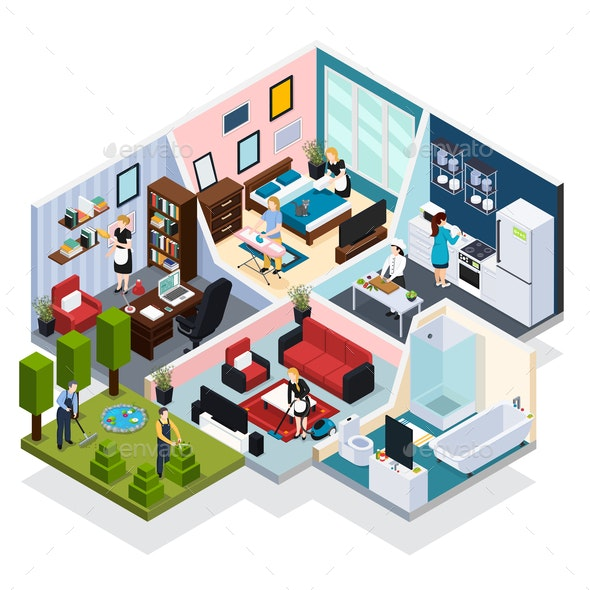 Home Staff Isometric Composition - Services Commercial / Shopping