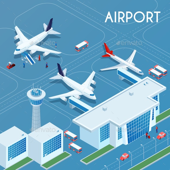 Airport Outdoor Isometric Illustration - Travel Conceptual