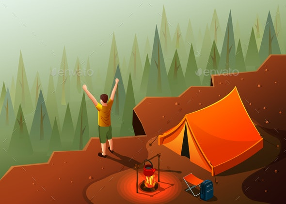 Hiking Freedom Isometric Composition - Sports/Activity Conceptual