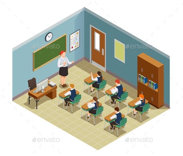 Classroom Hour Isometric Composition - Miscellaneous Vectors