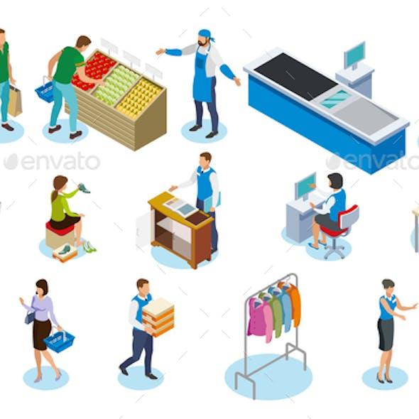 Shopping People Isometric Icons