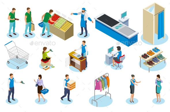 Shopping People Isometric Icons - People Characters