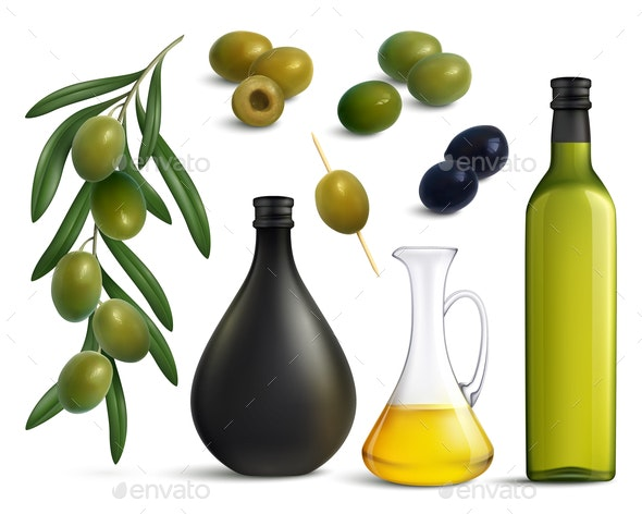 Olives and Oil Realistic Set - Food Objects