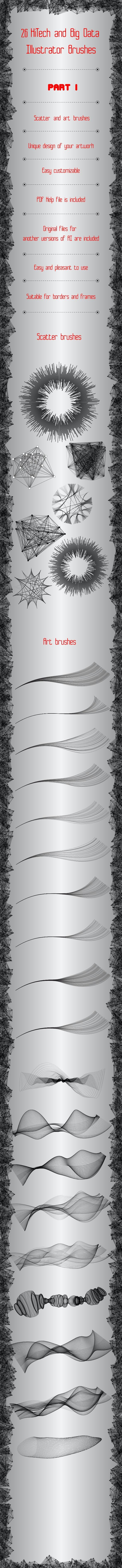 26 HiTech and Big Data Brushes - Technology Illustrator Brushes - Part 1 - Techno / Futuristic Brushes