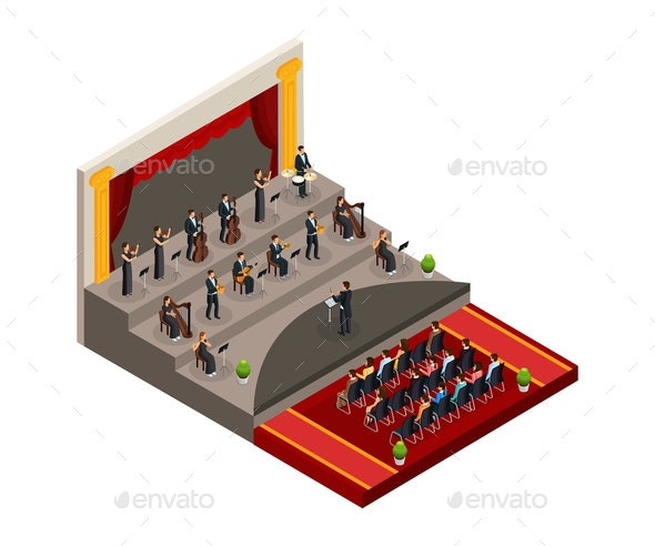 Isometric Symphony Orchestra Concept - People Characters