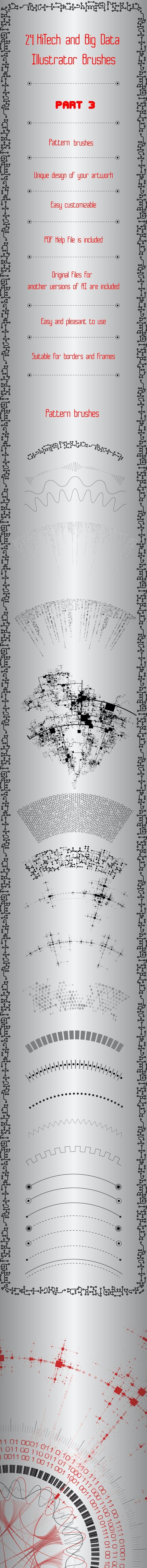 24 HiTech and Big Data Brushes - Technology Illustrator Brushes - Part 3 - Techno / Futuristic Brushes
