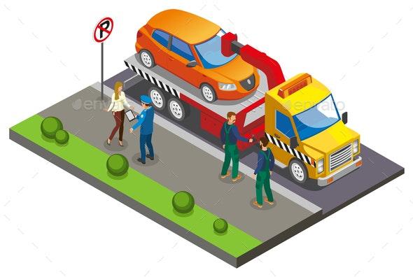 Colored Isometric Parking Composition - Miscellaneous Vectors