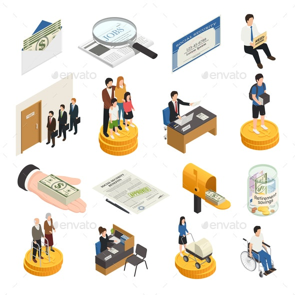 Social Security Isometric Icons - People Characters