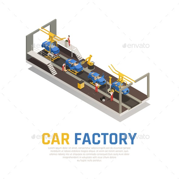 Car Factory Isometric Composition - Industries Business