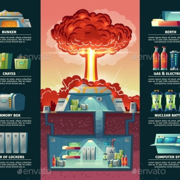Vector Cartoon Poster of Nuclear Shelter Bunker