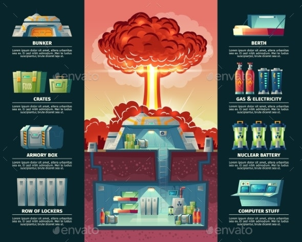 Vector Cartoon Poster of Nuclear Shelter Bunker - Miscellaneous Conceptual