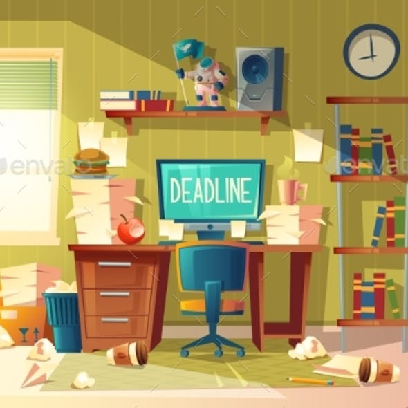 Vector Cartoon Deadline Concept for Freelance Job