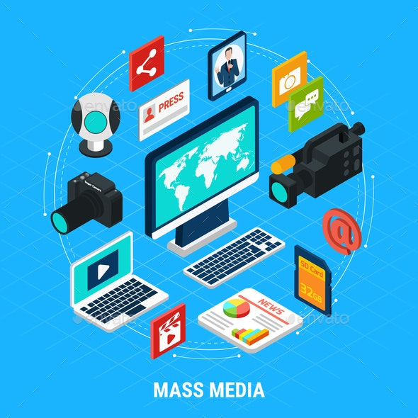 Mass Media Isometric Composition - Industries Business