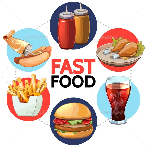 Cartoon Fast Food Round Concept - Food Objects